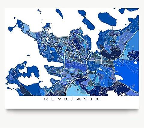 Reykjavik Map Print, Iceland, Blue City Artwork Poster (Reykjavik City Map)