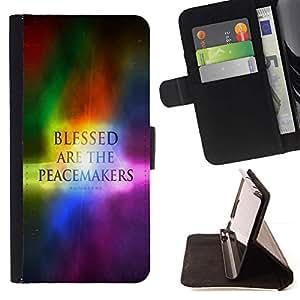 Momo Phone Case / Flip Funda de Cuero Case Cover - BIBLIA Bienaventurados los pacificadores - Matthev 5: 9; - Samsung Galaxy E5 E500