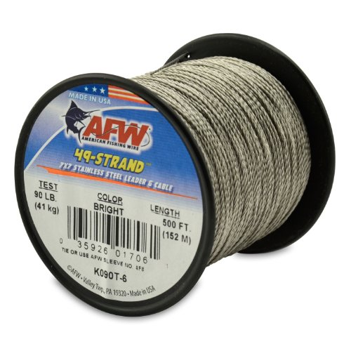 American Fishing Wire 49-Strand Cable Bare 7x7 Stainless Steel Leader Wire