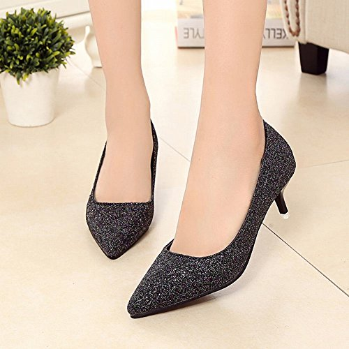 Carolbar Womens Pointed Toe Sequins Scarpin Stilettos Pumps Dress Shoes Black Ejtgv