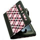 SumacLife Pink Plaid Executive Book-Style Leather Portfolio Jacket Case Cover for Barnes and Noble Nook Tablet and Nook Color e-Reader