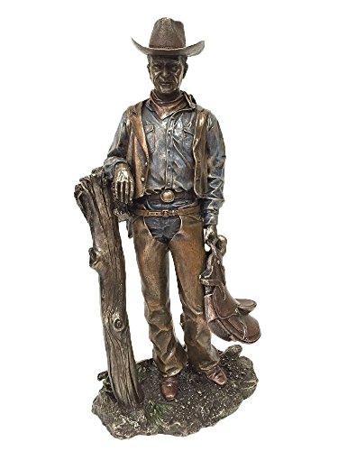 Cowboy Holding Saddle Statue Sculpture Figure -