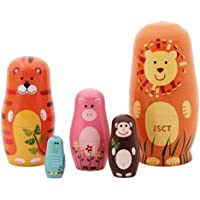Nesting Dolls 5pcs Handmade Animal Russian Wooden Matryoshka Dolls Cute Cartoon Animals Pattern Nesting Doll Toy Gift