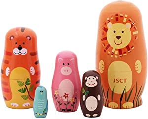 JSCT 5pcs Russian Nesting Dolls -- Matryoshka Wooden Stacking Nested Set 5 Pieces Handmade Toys, Cute Cartoon Animals Pattern Nesting Dolls for Children Kids Christmas Toy Gift, Home Room Decoration