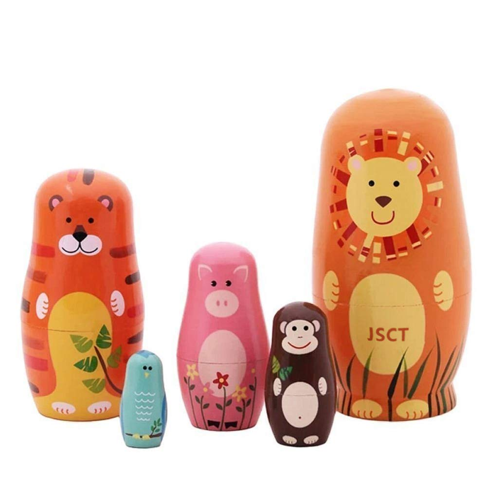 JSCT Nesting Dolls 5pcs Handmade Animal Russian Wooden Matryoshka Dolls Cute Cartoon Animals Pattern Nesting Doll Toy Gift by JSCT