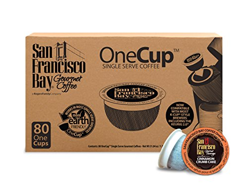(San Francisco Bay OneCup Cinnamon Crumb Cake (80 Count) Single Serve Coffee Compatible with Keurig K-cup Brewers Flavored Single Serve Coffee Pods, Compatible with Single Serve Brewers)