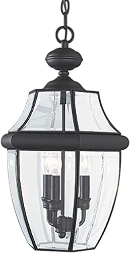 Sea Gull Lighting 6039-12 Lancaster Three-Light Outdoor Pendant with Clear Curved Beveled Glass Panels, Black Finish