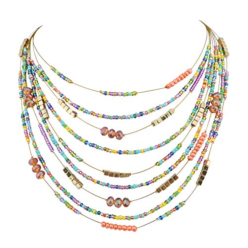 Bocar Multilayer Colorful Handmade Seed Beads Illusion Chain Bib Statement Necklace Wedding Bridal Jewelry (308)