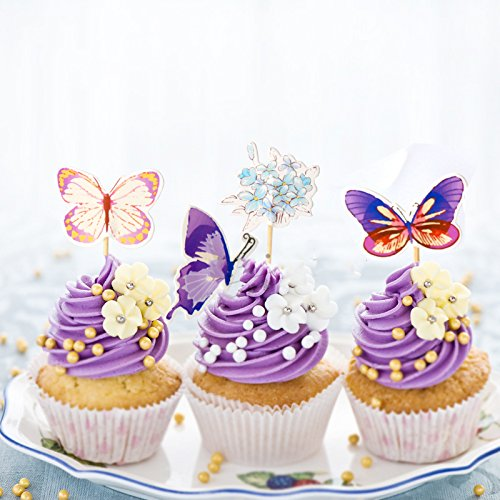 Value Pack- 24 Cupcake Toppers Picks- Various Themes (Butterflies)