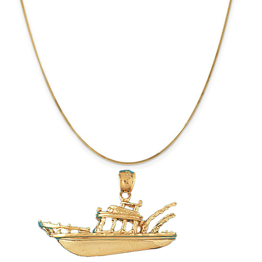 14k Yellow Gold Fishing Boat Pendant on a 14K Yellow Gold Curb Chain Necklace, 16''