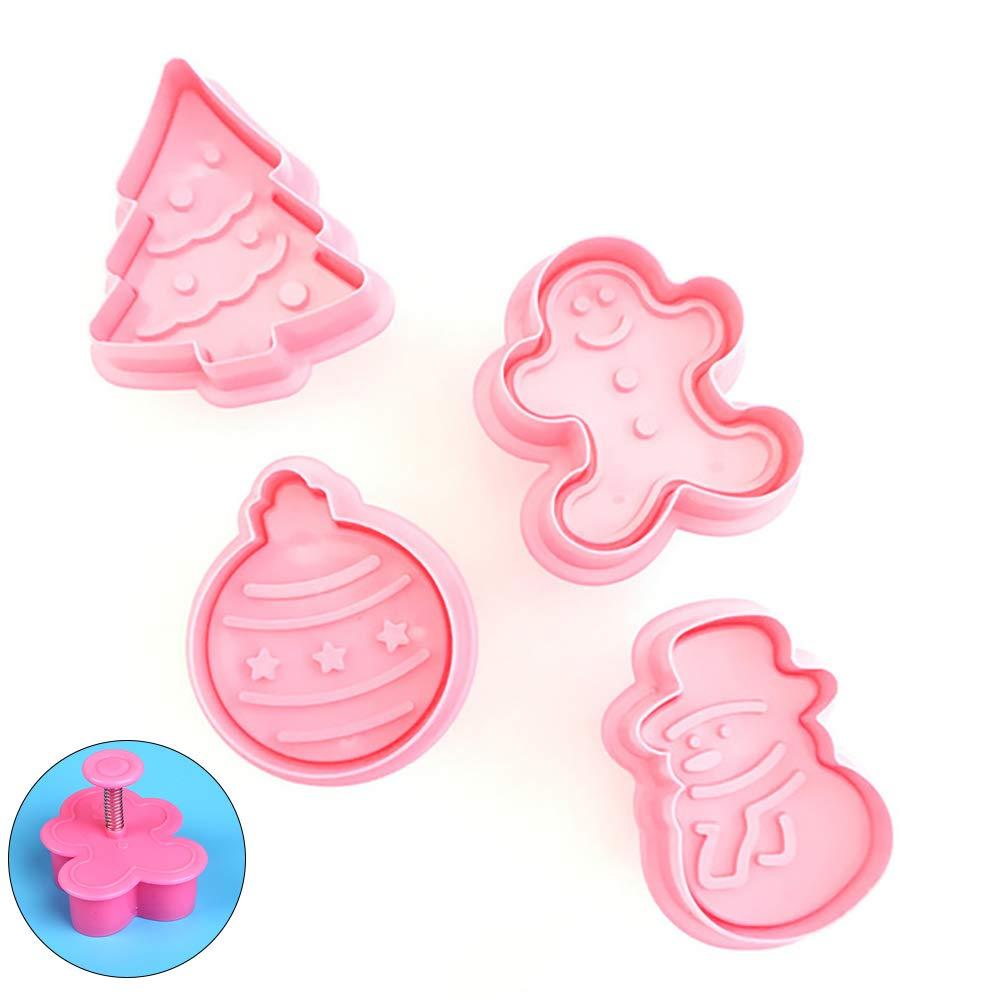 4pcs / set Mini Press que adorna la herramienta Torta de Navidad con temas de la galleta del cortador plástico Conjunto de invierno moldes del resorte pasta de azúcar con el Hombre Árbol de Navidad del muñeco de jengibre ornamento para la panadería de coci