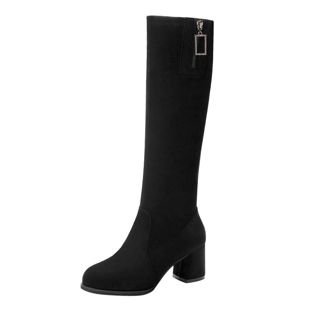 BIKETAFUWY Western Boots,Women's Round Toe Flock Zipper Knee-High Boots High Chunky Heel Classic Shoes Slip On Booties Black by BIKETAFUWY