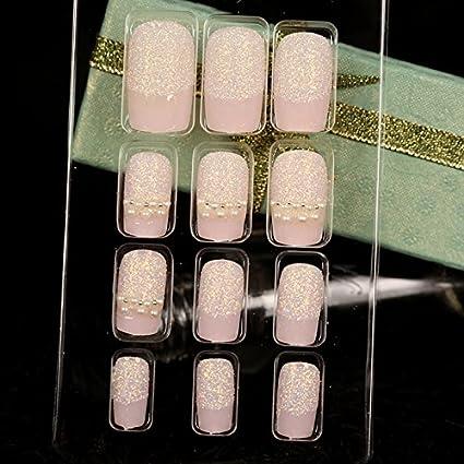 Z409 - Juego de 24 uñas acrílicas brillantes con purpurina, diseño de perlas cuadradas