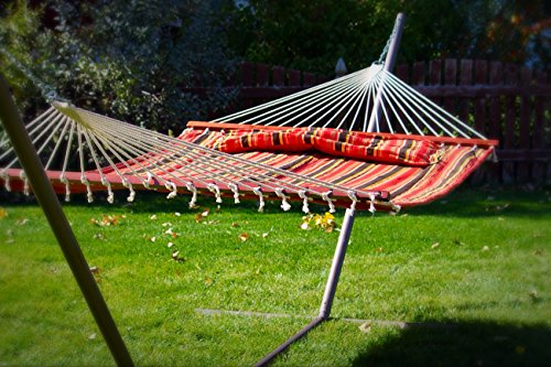 New Luxury Pillow Top Double Hammock with Bamboo Spreader ()
