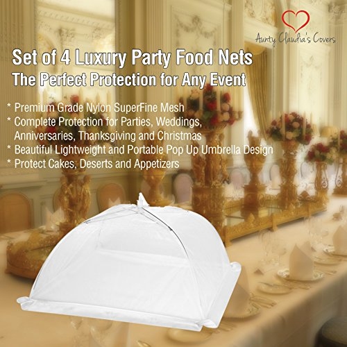 Luxury Food Nets | Pack of 4 | Easy Pop Up and Collapsible Umbrella | White Mesh Bug Net | Cake Cover | Reusable Outdoor BBQ Food Tent | 2 Sizes | Mosquito and Insect Screen | Keep Bugs Out by Aunty Claudia's Covers (Image #1)