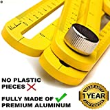 Heavy Duty Aluminum Multi Angle Measuring Ruler for DIY Workers | Angle Finder Woodworking Tool | Tile Flooring Universal angler ruler Metal Gift Men Women Template Layout Tools by Bluebana (Yellow)