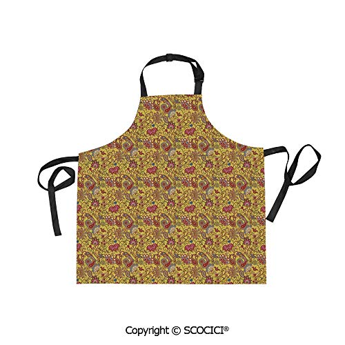 SCOCICI Fabric Durable Unisex Apron with 2 Pockets-Extra Long Ties, Paisley Design with Swirls and Flowers Leaves Bohemian Ornamental Ethnic Elements Decorative,Home Baking or Kitchen Cooking