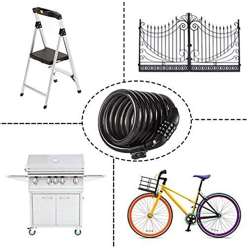 Cable Lock 6 Feet Long Coiled Security Resettable Combo Combination Lock Bicycle Lock with Mounting Bracket Etronic Bike Lock M7