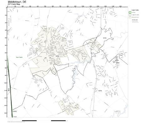 Amazoncom ZIP Code Wall Map of Middletown DE ZIP Code Map Not