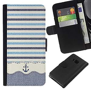 HTC One M9 Modelo colorido cuero carpeta tirón caso cubierta piel Holster Funda protección - Stripws Crocheted Fabric Boat
