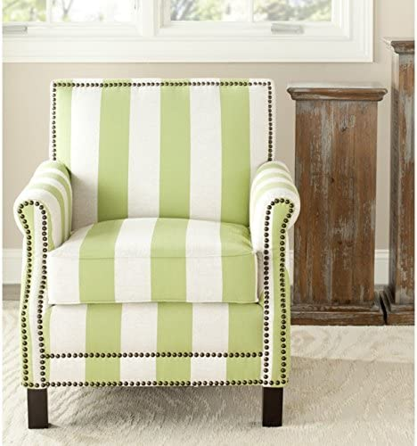 Safavieh Mercer Collection Charles Green and Beige Striped Linen Club Chair