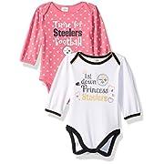 NFL Pittsburgh Children Girls 2 Pack Long sleeve Bodysuit, 3-6 Months, Steelers