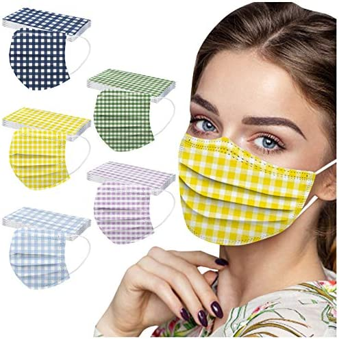 【USA in Stock 】 50 PCS Disposable Lattice Print Face Masks Face Protection for Women and Men, Skin-Friendly Elegant Print 3 Ply Breathable Anti-dust Spunlace Spring Summer Mask Holiday Dress Up Mask
