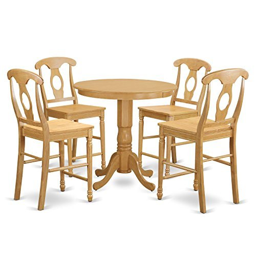 - East West Furniture JAKE5-OAK-W 5 Piece Pub Table and 4 Dinette Chairs Set