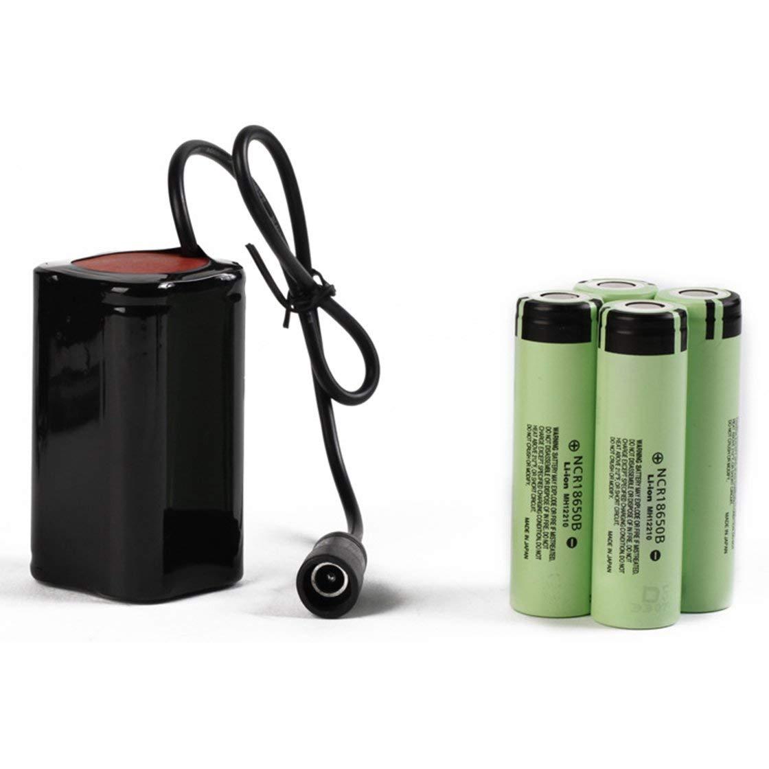 Laurelmartina Batería de Litio 8.4V USB Recargable 6400mAh Batería 4x18650 Resaltador de 3 Horas para la lámpara de Cabeza de Bicicleta T6 LED Light