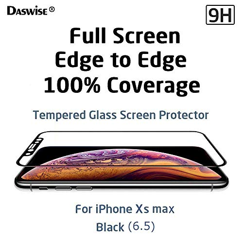 Daswise Screen Protector, for iPhone Xs max 100% Coverage Tempered Glass Screen Protector, Cover Edge-to-Edge, HD Clear, Bubble-Free, Shockproof, Case Friendly, Easy Installation (Black 6.5)