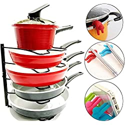Premium Pan Organizer & Spill-Proof Anti-Overflowing Tools - Easy Assembly Cabinet Rack Shelves, Cookware Divider & Kitchen Storage Gadgets - Bronze Holder for Frying Pans & Pot Lid - Gifts Worth $27