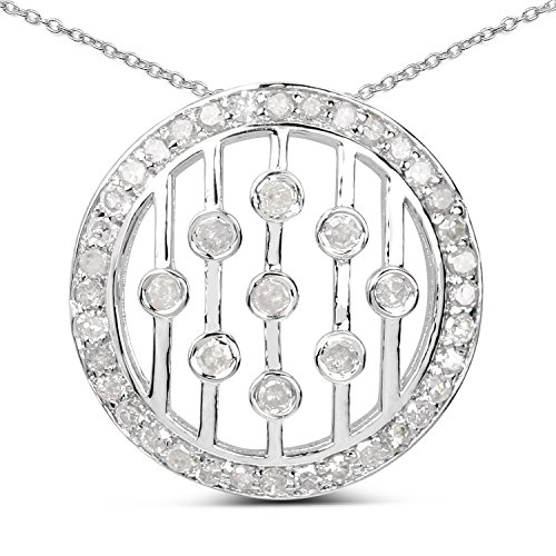 (Huang and Co. 0.47 Carats Genuine White Diamond (I-J, I2-I3) Musical Notes Pendant Solid .925 Sterling Silver with Rhodium Plating, 18Inch Chain)