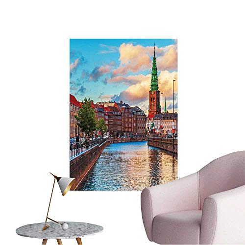 Wall Stickers for Living Room Scenic Summer Sunset in The Old Town of Copenhagen,Denmark Vinyl Wall Stickers Print,28