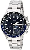 Timex Men's TW2R39700 IQ+ Move Multi-Time Silver-Tone/Blue Stainless Steel Bracelet Watch