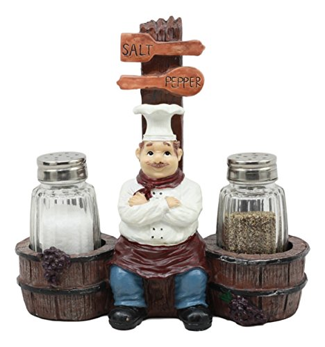 Ebros Bon Apetit Le Cordon Bleu Master Chef Sitting By Wooden Barrels Salt And Pepper Shakers Holder Figurine Set 6.5