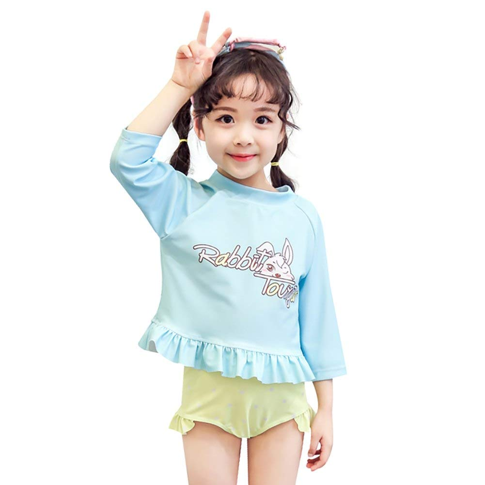 Toddler Girls Long Sleeve Dot Ruffle Two Piece Rashguard Child Adorable Rabbit Quick Drying Swimwear