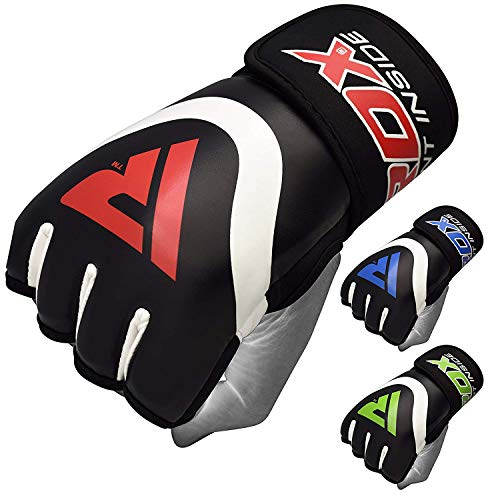 RDX Boxing Hand Wraps Inner Gloves for Punching - Maya Hide Leather Fist Protector Under Mitts - Great for MMA, Muay Thai, Martial Arts, Heavy Bag, Kickboxing, Multi-Purpose Training & Combat Sports