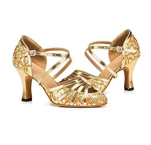 avec danse les amp; de latine adultes dans danse chaussures Femelles soled bal salle de paillettes danse d'argent TMKOO chaussures douce de de chaussures Color salon carrée danse de danse Gold Noir des de d0Xq7pw