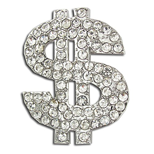 Crystal Dollar Sign (PinMart's Rhinestone Crystal Dollar Sign $ Brooch Lapel Pin 1-1/4