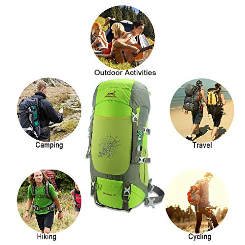 40L Hiking BackPacks, AMEISEYE Ventilation Ultralight Daypack,Waterproof Trekking Rucksacks with Rain Cover, Travel Knapsack for Climbing Camping Mountaineering Fishing (Green)