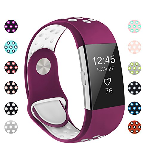 POY Replacement Bands Compatible for Fitbit Charge 2, Adjustable Breathable Wristbands with Air Holes Straps, Small Purple/White