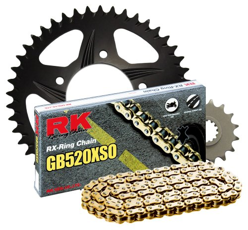 520 Conversion Kit - RK Racing Chain 3066-018RK Black Aluminum Rear Sprocket and GB520XSO Chain 520 Race Conversion Kit
