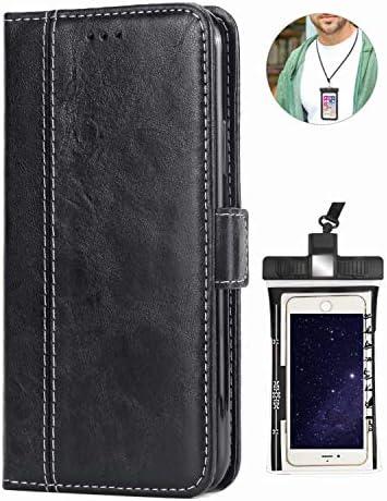 耐汚れ アイフォン iPhone 8 ケース 対応 耐摩擦 レザー スマホケース 本革 手帳型 財布 カバー収納 [無料付防水ポーチケース]