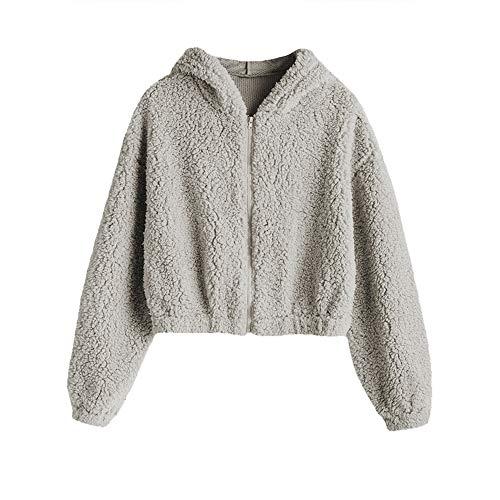 ZAFUL Women's Zip Up Faux Shearling Fluffy Oversized Hooded Teddy Jacket Coat