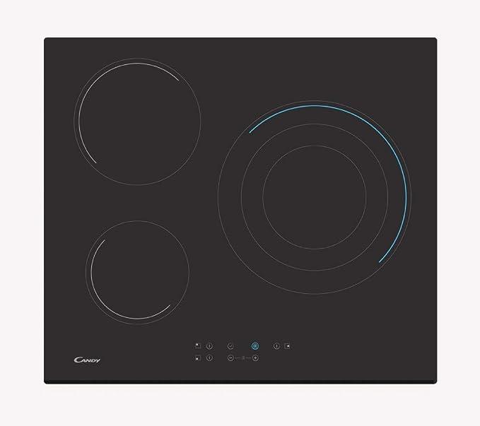 Candy CH63TVT Placa vitrocerámica, 60cm ancho, 3 fuegos, 5700W, 10 niveles de potencia, serigrafías azules, negro
