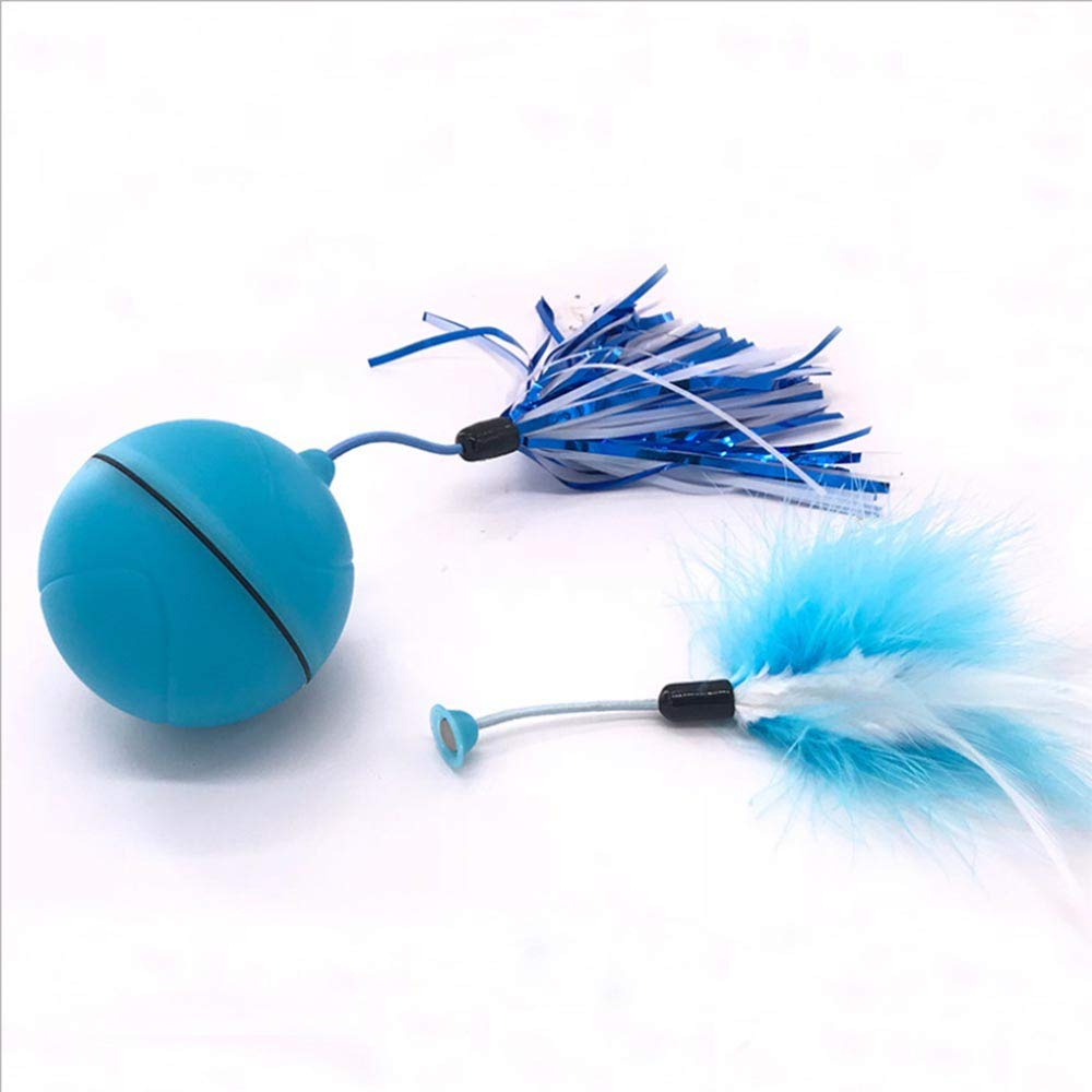 HKJCC Pet cat Toy LED Automatic Scrolling Light Electric Toy Funny cat Ball Replaceable Feather USB Charging,Blue