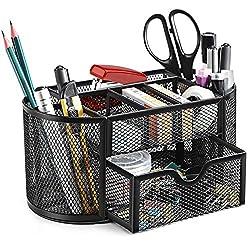 Schreibtisch Organizer Stifteköcher, SITHON Tisch Organizer mit Schublade für Stifte, Hefter, Schere, Ordnerklammern…
