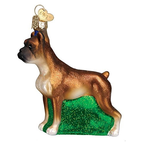 Old World Christmas Glass Blown Ornament with S-Hook and Gift Box, Dog Collection (Boxer)