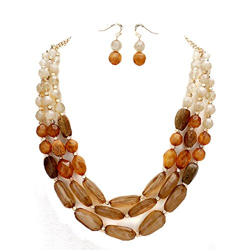 """Lucite Chunky Acrylic (3-Tone Brown 3 Strand Acrylic Bead Layered Necklace, 18"""" Long Plus 3"""" Extender, with Dangle Drop Earrings)"""