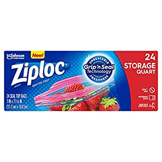 Ziploc Storage Bags with New Grip 'n Seal Technology, For Food, Sandwich, Organization and More, Smart Zipper Plus Seal, Quart, 24 Count